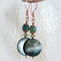 Mother of Pearl, Moss Agate and Copper Earrings, Blue Green