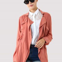 Peach Double Pockets Coat - New Arrivals - Retro, Indie and Unique Fashion