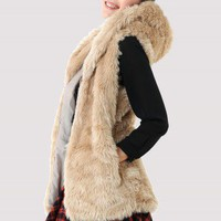 Faux Fur Hooded Hooded Vest - New Arrivals - Retro, Indie and Unique Fashion