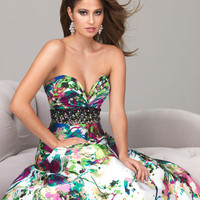 Evenings by Allure A503 A line Multi Color Strapless Prom Dress Sz 0 to12 New