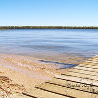 Beach Photography Fine Art Print nature outdoor waterscape sky blue beige woodgrain dock brown sand