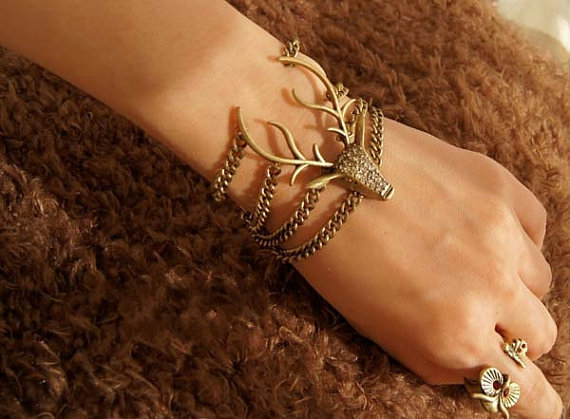 vintage style elk deer antlers bracelet by BeautyandLuck on Etsy