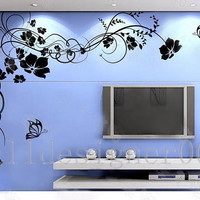Flower Wall Decals Wall Stickers Kids decal - Beautiful Flower With Butterfly