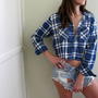 Plaid Crop Top Cropped Flannel Blue Long Sleeve Button Up Down Shirt Grunge