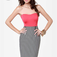 LULUS Exclusive Drive My Car Coral Striped Dress
