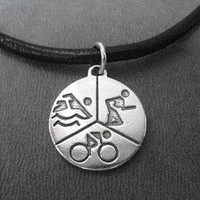 SWIM BIKE RUN Sterling Silver TRIATHLON Charm priced with Leather and Sterling Silver Necklace