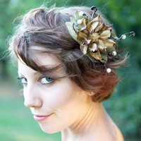 natural flower hair comb 'lotus' by whichgoose on Etsy