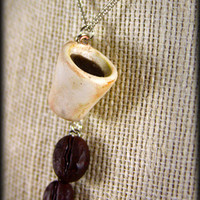 Coffee Lovers, Cup and Beans Necklace, Jewelry, Handmade