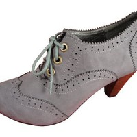 Andres Machado Women&#x27;s GRAY Napa Oxford Ankle Booties Petite Shoes