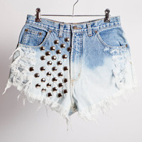 Ombre, High Waisted, Round Studded, Frayed Denim, Cutoff Shorts