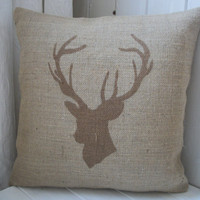 Chestnut Brown Deer / Stags Head Hand Printed Rustic Hessian Cushion Burlap Pillow 14&quot; x 14&quot;
