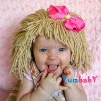 Baby Hat Baby Girl Wig Cabbage patch costume Raggedy Ann Blonde Hair Wig Baby Costume Dolly Hair Baby Girl Photo Prop