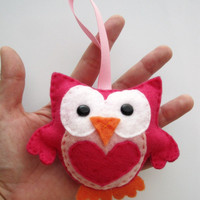 Valentine Felt Owl, Mini Owl, Hot P.. on Luulla