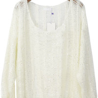 White Batwing Long Sleeve Hollow Sequined Sweater - Sheinside.com