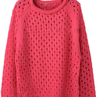 Red Round Neck Long Sleeve Hollow Pullovers Sweater - Sheinside.com