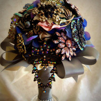 Brooch Bouquet Wedding Brooch Bouquet Silk Flowers Handmade Medium Custom Brooch Bouquet