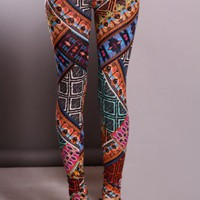 Orange Multi Printed Elastic Waist Leggins Pants @ Amiclubwear Pants Online Store: sexy pants,sexy club wear,women's leather pants, hot pants,tight pants,sweat pants,white pants,black pants,baggy pants,smarty pants,plastic pants,women's jeans,plaid pants,