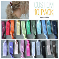 hair tie ponytail holders - custom pack you pick 10 - stretchy no dent no damage fold over elastic ribbon knotted ties