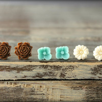 Flower Earring Studs Trio: Chocolate Blooming Rose, Pale Aquamarine Sakura Blossom, Ivory Flower