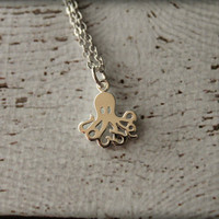 Tiny Octopus Necklace in Silver
