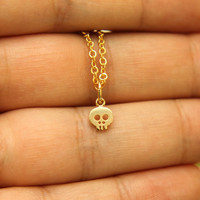 Itty Bitty Skull Necklace in Gold