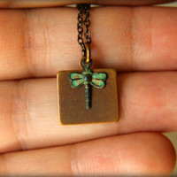 Verdigris Dragonfly &amp; Brass Tag Necklace