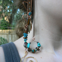 ear cuff wrap  turquoise tigers eye jasper mixed metals chains Native American inspired gypsy boho southwestern
