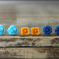 Flower Earring Studs Trio: Light Blue Rose, Pumpkin Orange Sakura Blossom, Cobalt Blue Daisy