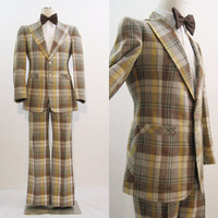 60s 70s Suit Vintage Men's Plaid Flared Jacket & Pants Alton Ames 38