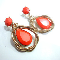 Coral Earrings, Tear Drop Earrings, Coral and Gold Earrings, Dainty Earrings, Peach Earrings, Everyday Earrings,