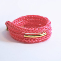 Knit bracelet and necklace with gold tube, wrap bracelet.