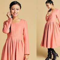 Pink wool midi dress with long sleeve (372)