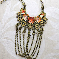 $69.00 Steampunk Necklace  Steampunk Tribal Draped Chain by bionicunicorn