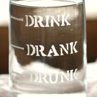 Drink Drank Drunk , Hand Etched Glass Wine Carafe for fun home decor or holiday table decor.