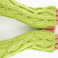 Fingerless mittens arm warmers knit fingerless gloves honeycomb motif  pistachio green men womenunisex curationnation