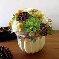 Fall White Pumpkin Centerpiece Floral by AprilHilerDesigns on Etsy