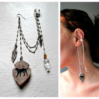 Single Earring With Ear Cuff. Quartz & Fox Totem Arrowhead. One of a Kind