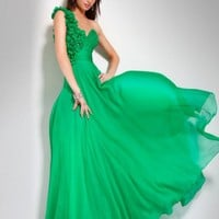 One-shoulder rosette evening dress, Style 151627