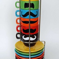 Multi Color Mustache Espresso Mugs and Saucers - set of 6 and a chrome holder