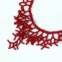Red Necklace - Beaded Handmade Jewelry