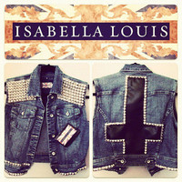 Studded Vest with Studded Leather Inverted Cross