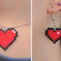 Pixel Heart Pendant & Earrings Set. Colorful 8bit Pixel Heart Set. Choose between 24 Colors