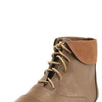 Nature Breeze Cambridge11h  Dark Tan Laced Folded Cuff Desert Boots and Shop Boots at MakeMeChic.com