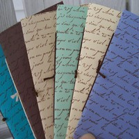 French Script Handstamped Small Blank Notebooks by PoshMishMosh