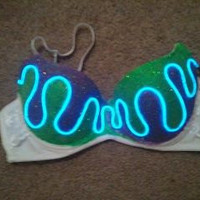 LIGHT UP // EL Wire// Bass Princess bra //Sound Responsive// Made to order, customs welcome :)