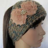 Ear Warmer Headband Headwrap Hand Knit In Multi Colored  Greens and Beige with Champagne Shabby Flowers and Rhinestone Accent