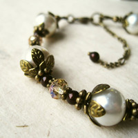 Cream Pearl Bracelet. Cream Bracelet with Antique Bronze Flower Petals. Topaz Bracelet Chocolate Brown Pearls. Downton Abbey Jewelry.
