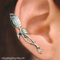 925. Rose Branch earcuff - sterling silver ear cuff earring - Non pierced jewelry for men and women, 102812