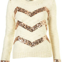 Knitted Zigzag Sequin Jumper
