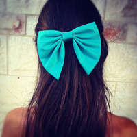 Turquoise BIG unique hair bow